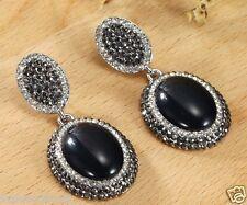 1 pair Fashion Woman's Black Crystal Rhinestone Long Ear Stud Hoop earrings 178