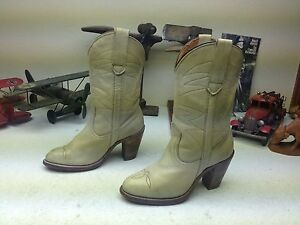 BONE LEATHER FRYE DISTRESSED PULL ON HIGH HEEL WESTERN BOOTS SIZE 6 B