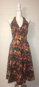 Bettie Page by Tatiana Halter Dress Size M Atomic Boomerang