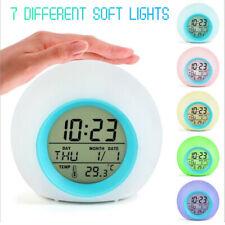 7Color Changing Led Digital Alarm Clock Night Light Home Decor Kids Gift Hot