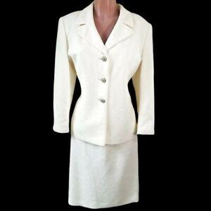 LE SUIT Skirt Suit 16P Cream Ivory Textured Crystal Buttons 2-Pc L XL