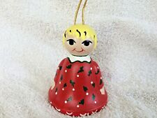 Bell Christmas Ornament Girl in Red Christmas Dress Vintage Ceramic