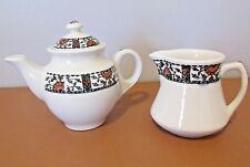 1940-48 MINI TEA/COFFEE POT & CREAMER WARWICK CHINA USA RESTAURANT WARE FLORAL