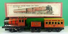 WELLS BRIMTOY O GAUGE CLOCKWORK LOCOMOTIVE , TENDER & COACH set No 388 ( BOXED