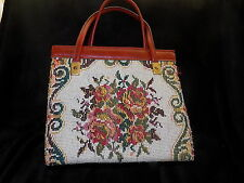 60s vintage floral tapestry embroidered bag red faux leather MOD Scooter