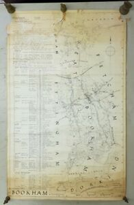 Vintage 1945 Hand Drawn Bookham Topography Map Signed JHH DEL. A/F