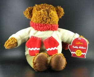 """Hallmark 13"""" Brown Teddy Bear with Green Outfit Red Scarf & Mittens Bean Plush"""