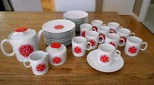 Thomas of Germany (Rosenthal) Vintage 23Pc. Porcelain Pink/Red Pinwheel Tea Set