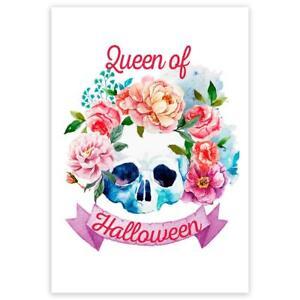 Gift Sticker : Queen of Halloween Flower Skull Fall Autumn For Her Feminine