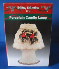 New! 2 Pc Christmas Holiday Porcelain Candle Lamp Hollyberry Tealight Holder