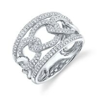 14K White Gold Diamond Link Ring Chain Womens Cocktail Round Cut Natural Size 7