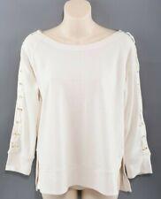 LAUREN RALPH LAUREN Women's Lace Sleeve Sweatshirt Top, Cream, size M