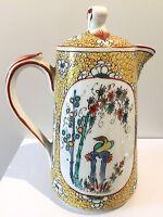 Porcelaine de Mehun, Pillivuyt, ancienne verseuse théière décor peint asiatique
