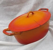Mid Century Descoware Cast Iron Enamel Flame Orange Oval Dutch Oven Vintage