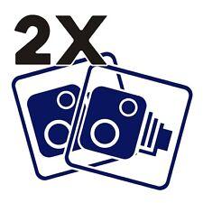 2X Car CCTV Camera Icon Dark Blue Car Van Taxi Window Bumper Sticker Dash Cam
