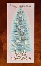 """Vintage UNUSED Christmas Greeting Card GLITTER PINK w/ BLUE TREE 8"""" Mid-Century"""