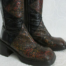 Luichiny Platform Black Brown Floral Etched Leather Knee High Boots  size 6 /36
