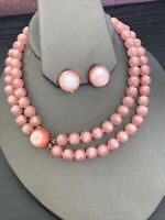 Ladies Vintage 1950's Pale Pink Moon Glow  Beaded Necklace Clip earring set