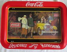 """Coca Cola """"Touring Car""""  Bed Tray Stand 1987 Reproduction Metal 17x13"""