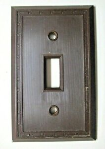 Sem Co #1801 USA Brown Bakelite Fine Lines Dots Antique Switch Wall Plate Cover