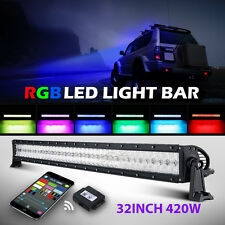 32inch 420W RGB Led Light Bar Strobe Flash Multi Color Halo Ring Bar Jeep Truck