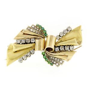 Antique 18k Gold 3.24ctw Old Cut Diamond & Emerald Ribbon Dual Dress Clip Brooch