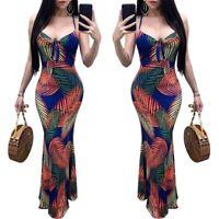 NEW Women Leaf Print Spaghetti Strap Scoop Neck Bodycon Long Beach Party Dress