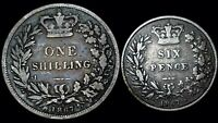 1867 Great Britain Silver Shilling & Sixpence  Queen Victoria  Free Shipping