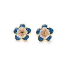 Blue Flower Enamel Women Elegant Fashion Earrings Drop Gold Crystal Ear Stud