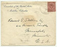 COVERS-COLOMBIA. 4/08/1897 10c Brown on Pink on Cover. Medellin to United States