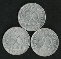 Allemagne : Lot de 3 X 50 Pfennig Weimar 1920 A / 1921 A / 1922 A SUP
