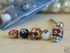 """Bonus Pack 14 Gauge 5/8"""" Barbell with 5 Different Styles of """"SKULL"""" Tongue Ring."""