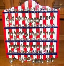Red-White-Blue Finish Wood Display Rack w/62 Collector Spoons - Slots for 64