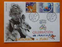 2003 ALPHA CELEBRATION & NATION 'KANGAROO & FLAG' ILLSUTRATED FDC 2 STAMPS