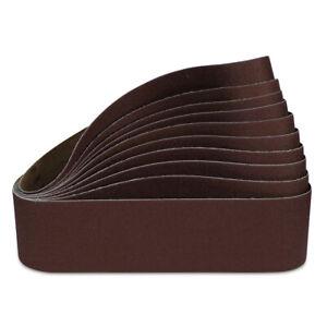 """4"""" x 24"""" 220 Grit Aluminum Oxide Sanding Belt Kit Metal or Wood, Fine - 10 Pack"""
