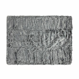 Faux Fur Pet Cats Dogs Blanket Rug Grey Warm