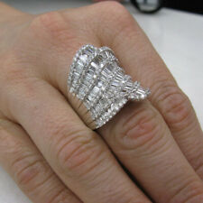 Baguette Cut Cubic Zirconia Fine Ring Solid 925 Sterling Silver 7.00Ct Round &