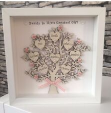 Christmas Gift Grandchildren Personalised Family Tree Frame Handmade