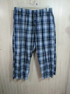 Highland Outfitters Pajama Pants XL Blue Plaid Elastic Drawstring Waist Pockets