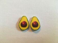 Avocado Half Earrings Handmade Plastic Metal Post Eat Cook Food Fun Humor Stud
