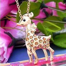 Gold tone reindeer spot deer charm necklace w/ crystal