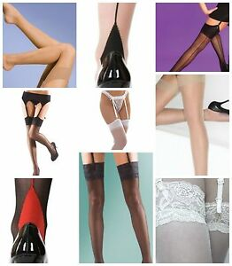 Stockings seamed seamer lace top black white cream nude red M L one size new