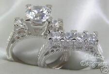 1.68ct Antique Round Brilliant Wedding Ring Set! Sz 8