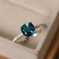 1.55 Ct Cushion Natural Topaz Diamond Engagement Ring 14K White Gold Size M N O