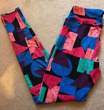 LulaRoe OS Buttery Soft Leggings Multi Color Patchwork Design New W/Tag