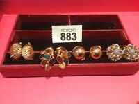 4 Pairs Of Stunning Vintage Clip On Earrings Enamel Crystal Etc  Gold Tone