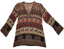 Indian Cotton Blouse Top Boho Tunic Hippie Blusa  Retro Gypsy Ethnic Women Ehs
