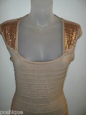 Forever 21 M Dress Bandage Open Back Mesh Cutout Tan Nude Sequin Gold Party