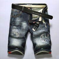 Mens Denim Shorts Jeans Slim Distressed Frayed Trouser Casual Ripped Short Pants
