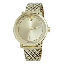 Movado 3600580 Swiss Bold Gold Stainless Steel Mesh Bracelet Watch 34mm wTAG